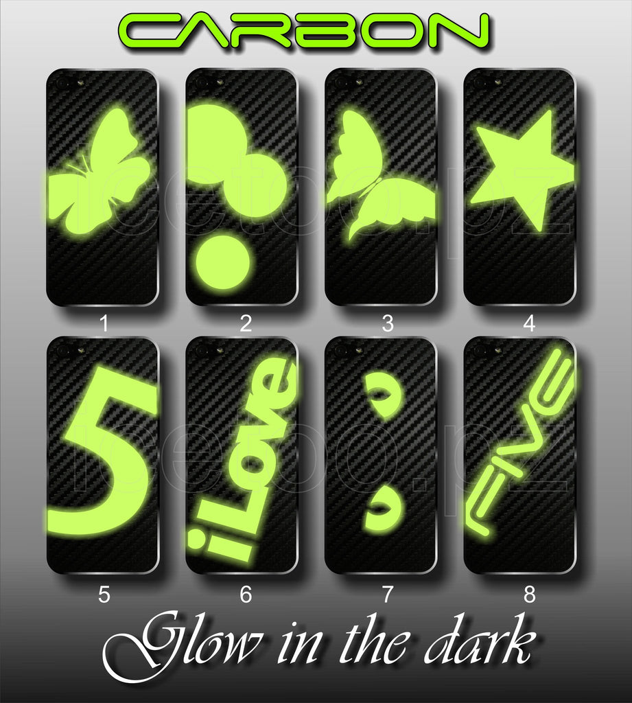3D CARBON Vinyl BACK Skin  with Glow In The Dark for iPhone 4 4S or 5