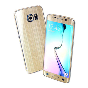 Samsung Galaxy S6 EDGE Premium Brushed Champagne GOLD Skin Wrap Sticker Cover Decal Protector by EasySkinz