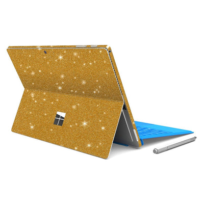 Microsoft Surface PRO 4 Diamond Gold Shimmering Glitter Skin Wrap Sticker Decal Cover Protector by EasySkinz
