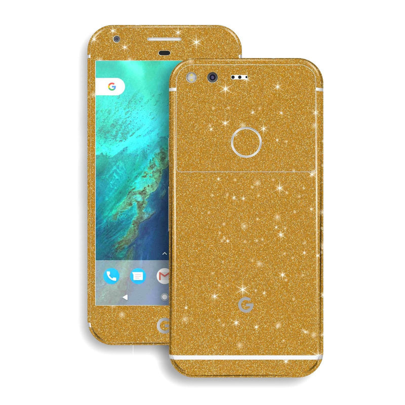 Google Pixel XL Diamond Gold Shimmering Glitter Skin Wrap Decal by EasySkinz