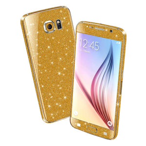 Samsung Galaxy S6 DIAMOND GOLD Shimmering Sparkling Glitter Skin Wrap Sticker Cover Decal Protector by EasySkinz