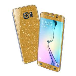 Samsung Galaxy S6 EDGE DIAMOND GOLD Shimmering Sparkling Glitter Skin Wrap Sticker Cover Decal Protector by EasySkinz