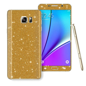 Samsung Galaxy Note 5 Diamond Glitter Shimmering GOLD Skin Wrap Decal Sticker Protector Cover by EasySkinz