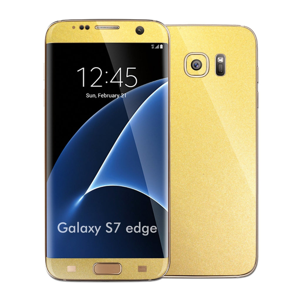 Samsung Galaxy S7 EDGE Gold Matt Metallic Skin Wrap Decal Sticker Cover Protector by EasySkinz