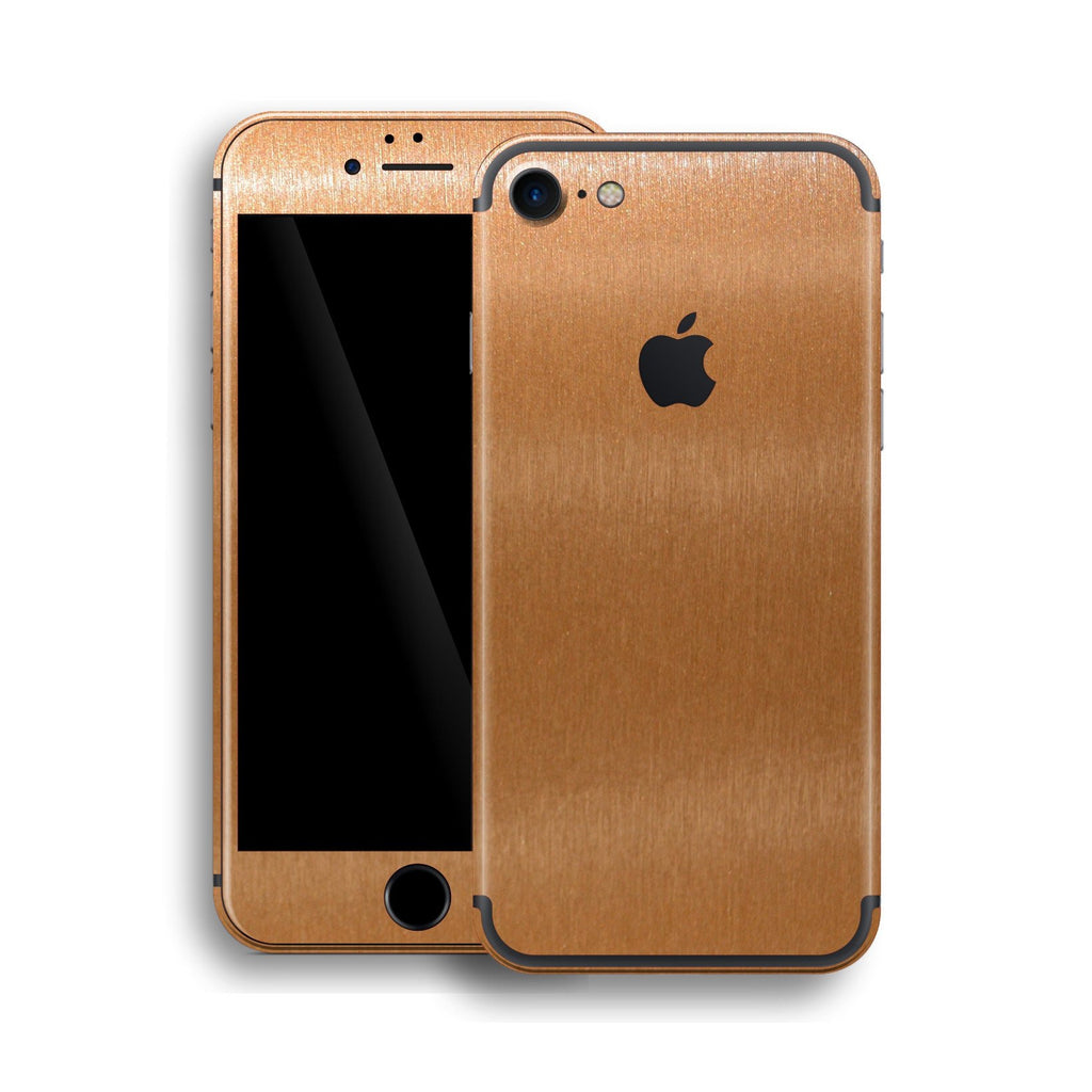 iPhone 7 Brushed Metal Copper Metallic Skin, Wrap, Decal, Protector, Cover by EasySkinz | EasySkinz.com