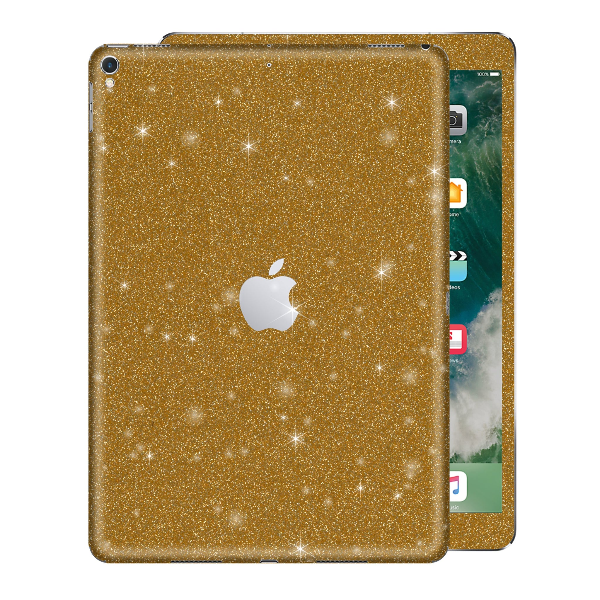 "iPad PRO 10.5"" inch 2017 Diamond GOLD Glitter Shimmering Skin Wrap Sticker Decal Cover Protector by EasySkinz"
