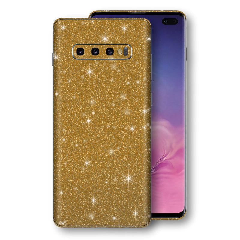 Samsung Galaxy S10+ PLUS Diamond Gold Shimmering, Sparkling, Glitter Skin, Decal, Wrap, Protector, Cover by EasySkinz | EasySkinz.com