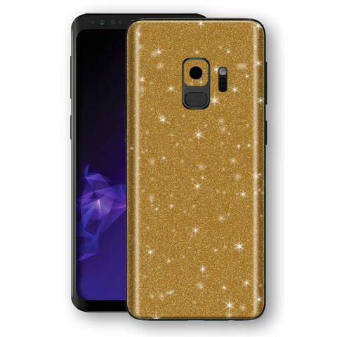 Samsung GALAXY S9 Diamond Gold Shimmering, Sparkling, Glitter Skin, Decal, Wrap, Protector, Cover by EasySkinz | EasySkinz.com