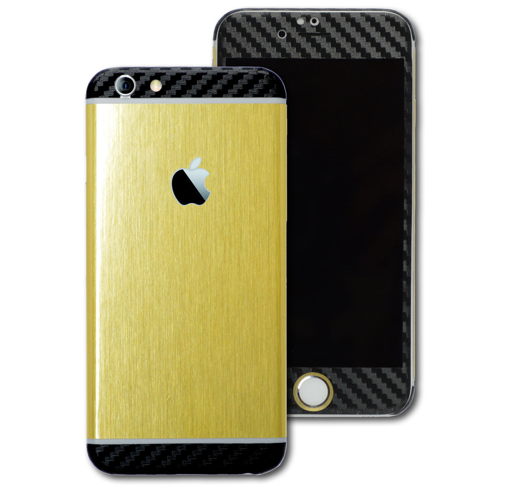 iPhone 6S Brushed GOLD with Black CARBON Fibre Skin Sticker Wrap Cover Decal Protector by EasySkinz