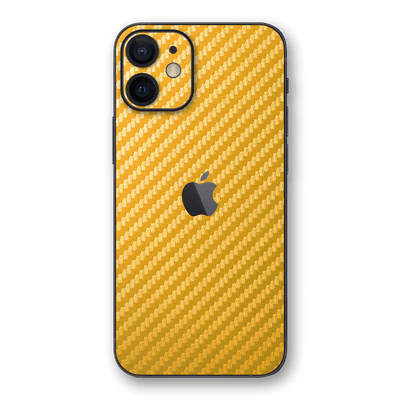 iPhone 12 Gold Metallic 3D Textured CARBON Fibre Fiber Skin, Wrap, Decal, Protector, Cover by EasySkinz | EasySkinz.com