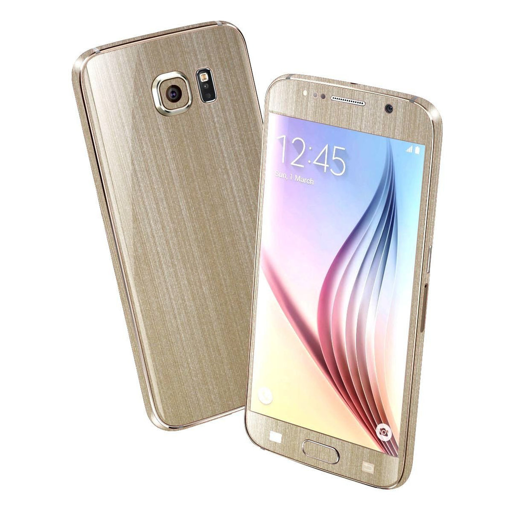 Samsung Galaxy S6 Premium Brushed Champagne GOLD Skin Wrap Sticker Cover Decal Protector by EasySkinz