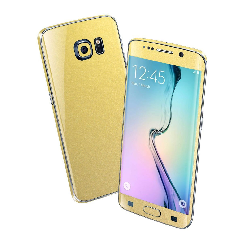 Samsung Galaxy S6 EDGE Matt Matte GOLD Metallic Skin Wrap Sticker Cover Protector Decal by EasySkinz