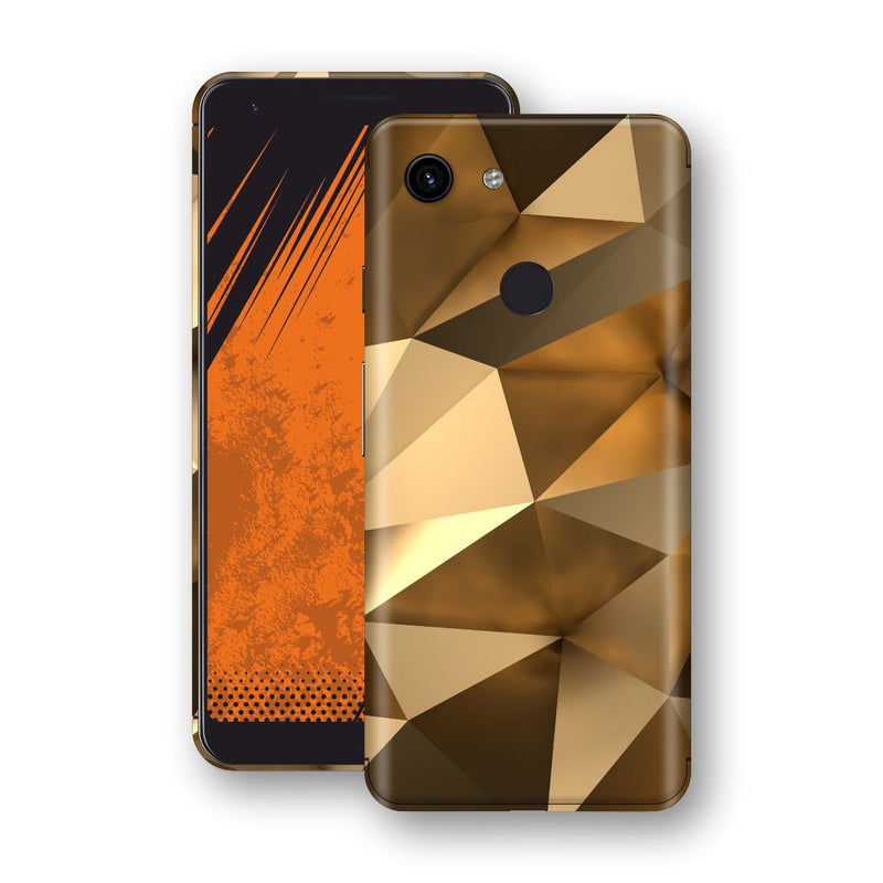 Google Pixel 3a Print Custom Signature Gold Mirror Skin Wrap Decal by EasySkinz