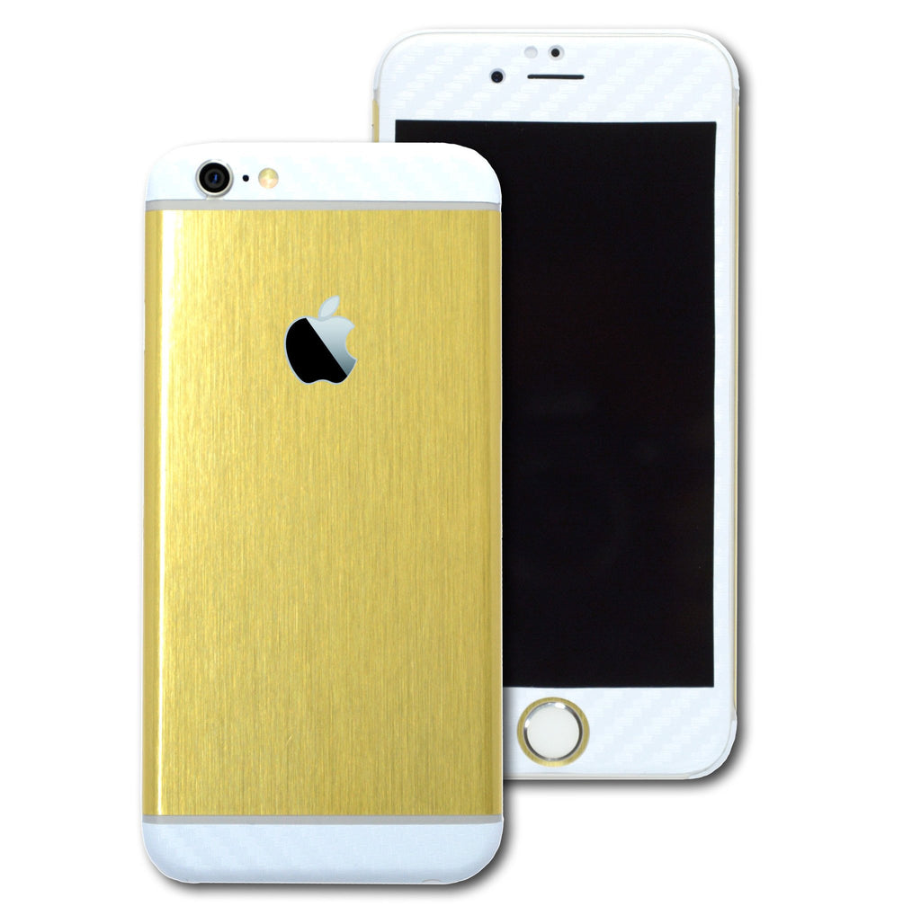 iPhone 6S PLUS Brushed GOLD with WHITE Carbon Fibre Skin Wrap Sticker Cover Decal Protector by EasySkinz