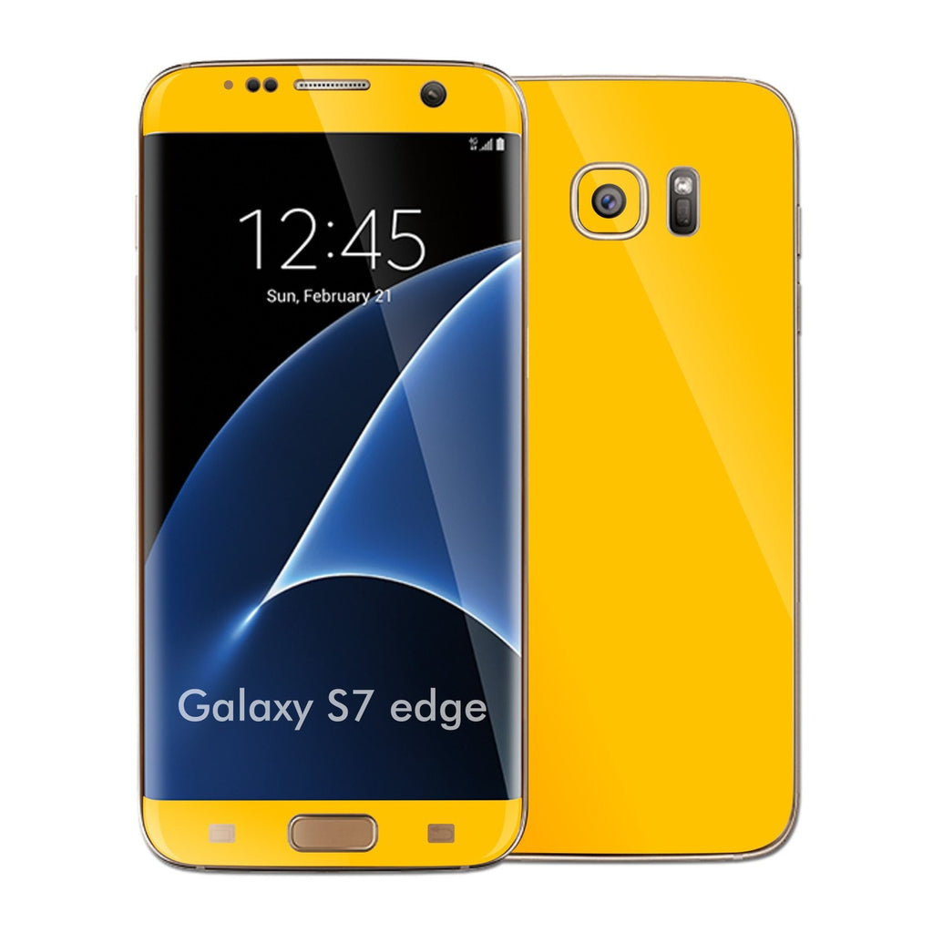 Samsung Galaxy S7 EDGE Glossy Golden Yellow Skin Wrap Decal Sticker Cover Protector by EasySkinz