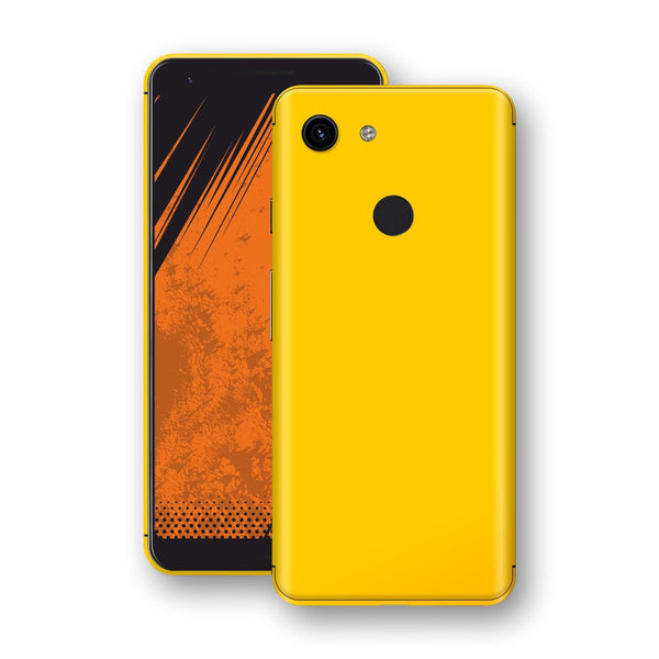 Google Pixel 3a Golden Yellow Glossy Gloss Finish Skin, Decal, Wrap, Protector, Cover by EasySkinz | EasySkinz.com