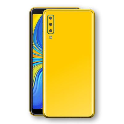 Samsung Galaxy A7 (2018) Golden Yellow Glossy Gloss Finish Skin, Decal, Wrap, Protector, Cover by EasySkinz | EasySkinz.com