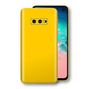 Samsung Galaxy S10e Golden Yellow Glossy Gloss Finish Skin, Decal, Wrap, Protector, Cover by EasySkinz | EasySkinz.com