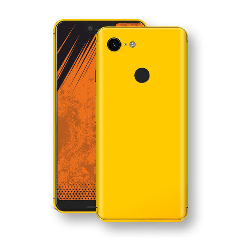 Google Pixel 3 XL Golden Yellow Glossy Gloss Finish Skin, Decal, Wrap, Protector, Cover by EasySkinz | EasySkinz.com