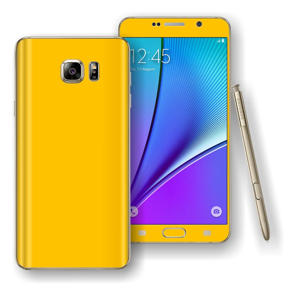 Samsung Galaxy NOTE 5 Golden Yellow Glossy Skin Wrap Decal Cover Protector by EasySkinz