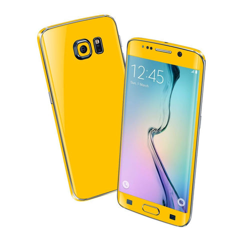 Samsung Galaxy S6 EDGE Colorful GLOSS GLOSSY Golden Yellow Skin Wrap Sticker Cover Protector Decal by EasySkinz