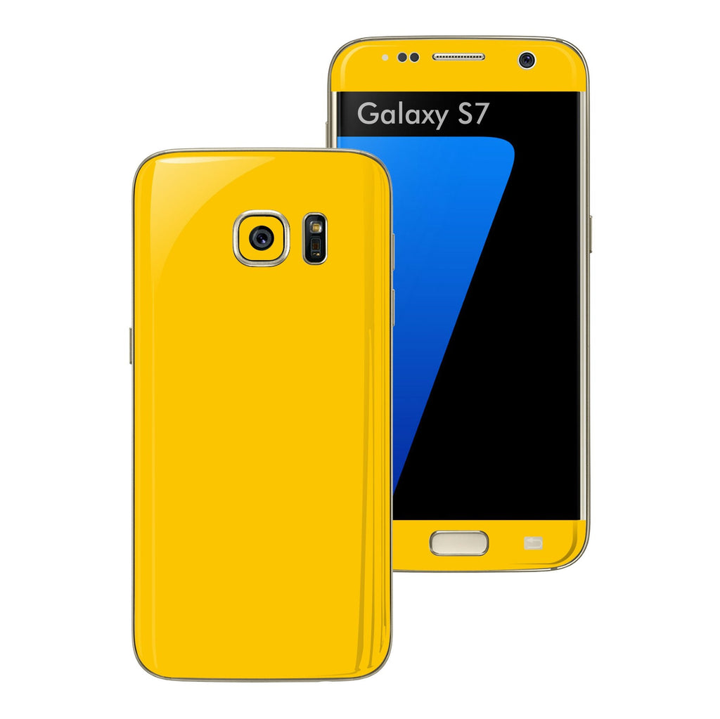 Samsung Galaxy S7 Glossy Golden Yellow Skin Wrap Decal Sticker Cover Protector by EasySkinz
