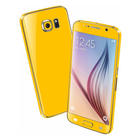 Samsung Galaxy S6 Colorful GLOSS GLOSSY Golden Yellow Skin Wrap Sticker Cover Protector Decal by EasySkinz