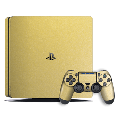 Playstation 4 SLIM PS4 Slim Gold Matt Metallic Skin Wrap Decal by EasySkinz