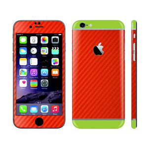 iPhone 6 RED Carbon Fibre Fiber Skin with Green Matt Highlights Cover Decal Wrap Protector Sticker by EasySkinz
