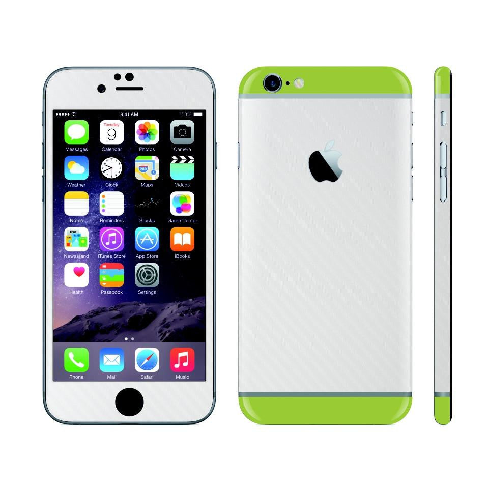 iPhone 6 Plus White Carbon Fibre Skin with Green Matt Highlights Cover Decal Wrap Protector Sticker by EasySkinz