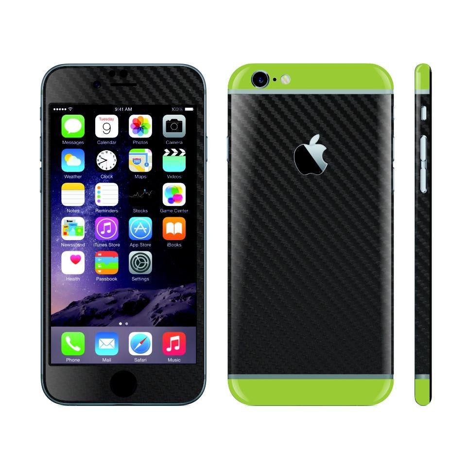 iPhone 6 Plus Black Carbon Fibre Skin with Green Matt Highlights Cover Decal Wrap Protector Sticker by EasySkinz