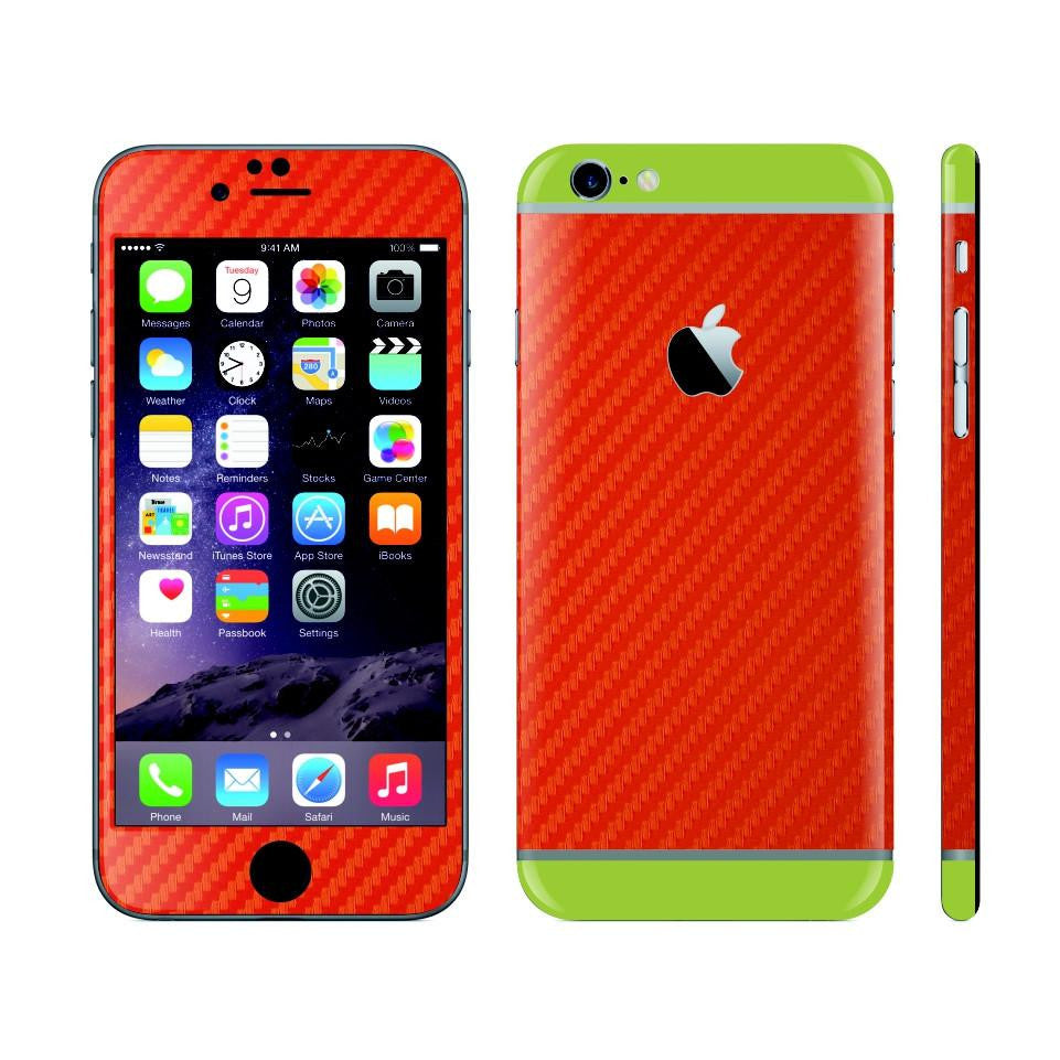 iPhone 6 Plus Red Carbon Fibre Skin with Green Matt Highlights Cover Decal Wrap Protector Sticker by EasySkinz