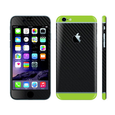 iPhone 6S Black Carbon Fibre Skin with Green Matt Highlights Cover Decal Wrap Protector Sticker by EasySkinz
