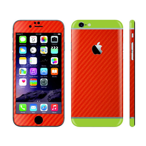 iPhone 6S RED Carbon Fibre Fiber Skin with Green Matt Highlights Cover Decal Wrap Protector Sticker by EasySkinz