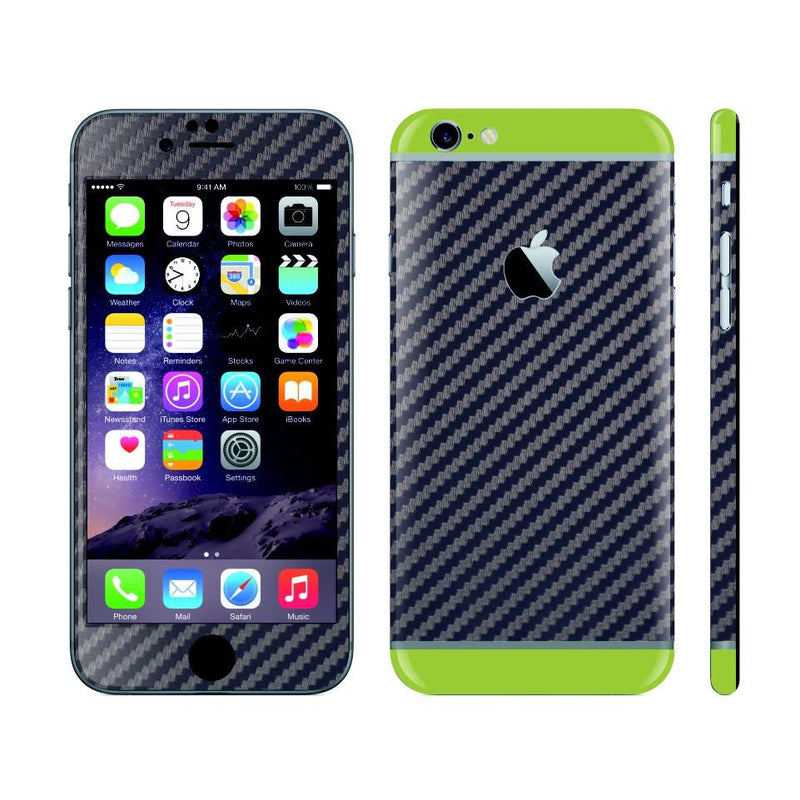iPhone 6 Plus Navy Blue Carbon Fibre Skin with Green Matt Highlights Cover Decal Wrap Protector Sticker by EasySkinz