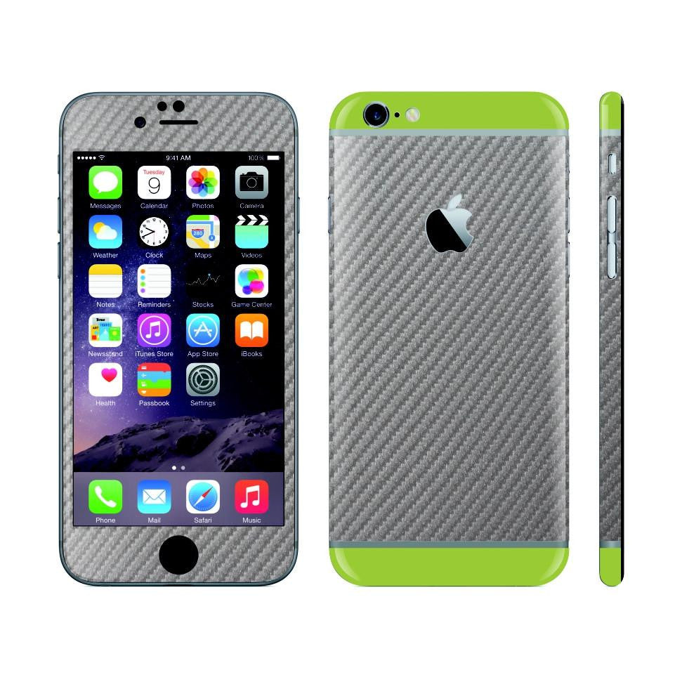 iPhone 6 Plus Metallic Grey Carbon Fibre Skin with Green Matt Highlights Cover Decal Wrap Protector Sticker by EasySkinz