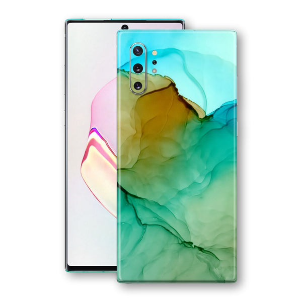 Samsung Galaxy NOTE 10+ PLUS Print Custom Signature Blue-Green CRYSTAL Skin Wrap Decal by EasySkinz