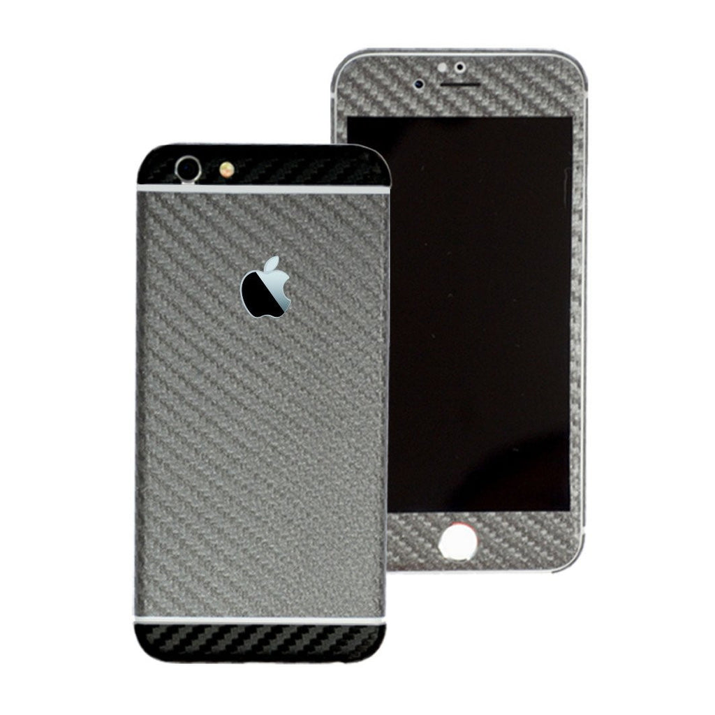 iPhone 6 Two Tone Metallic Grey and Black Carbon Fibre Skin Sticker Wrap Cover Protector Decal by EasySkinz