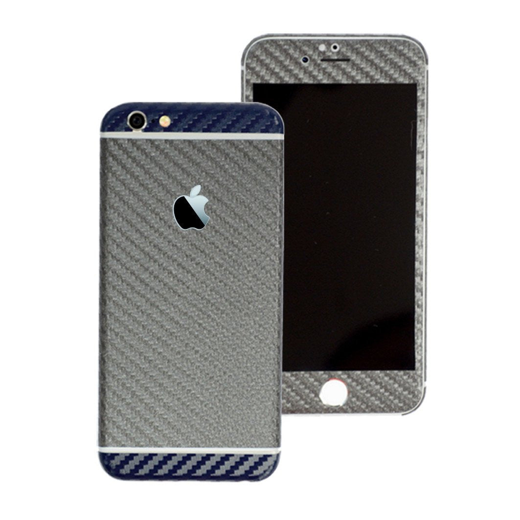 iPhone 6 Plus Two Tone Metallic Grey and Navy Blue Carbon Fibre Skin Sticker Wrap Cover Protector Decal by EasySkinz