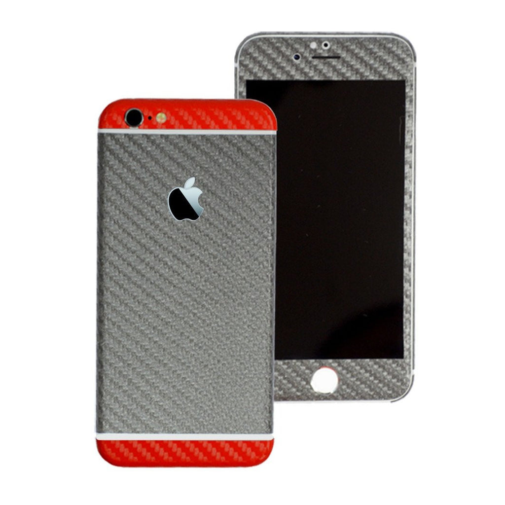 iPhone 6S PLUS Two Tone Metallic Grey & Red Carbon Fibre Skin Wrap Sticker Cover Decal Protector by EasySkinz