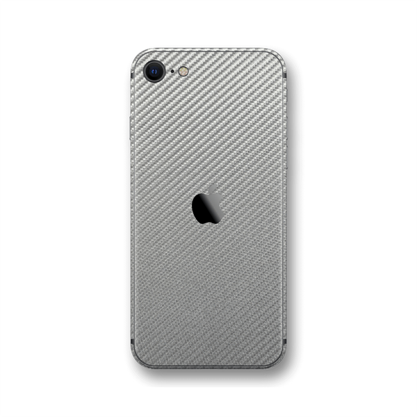 iPhone SE (2020) 3D Textured Metallic Grey Carbon Fibre Fiber Skin Wrap Sticker Decal Cover Protector by EasySkinz