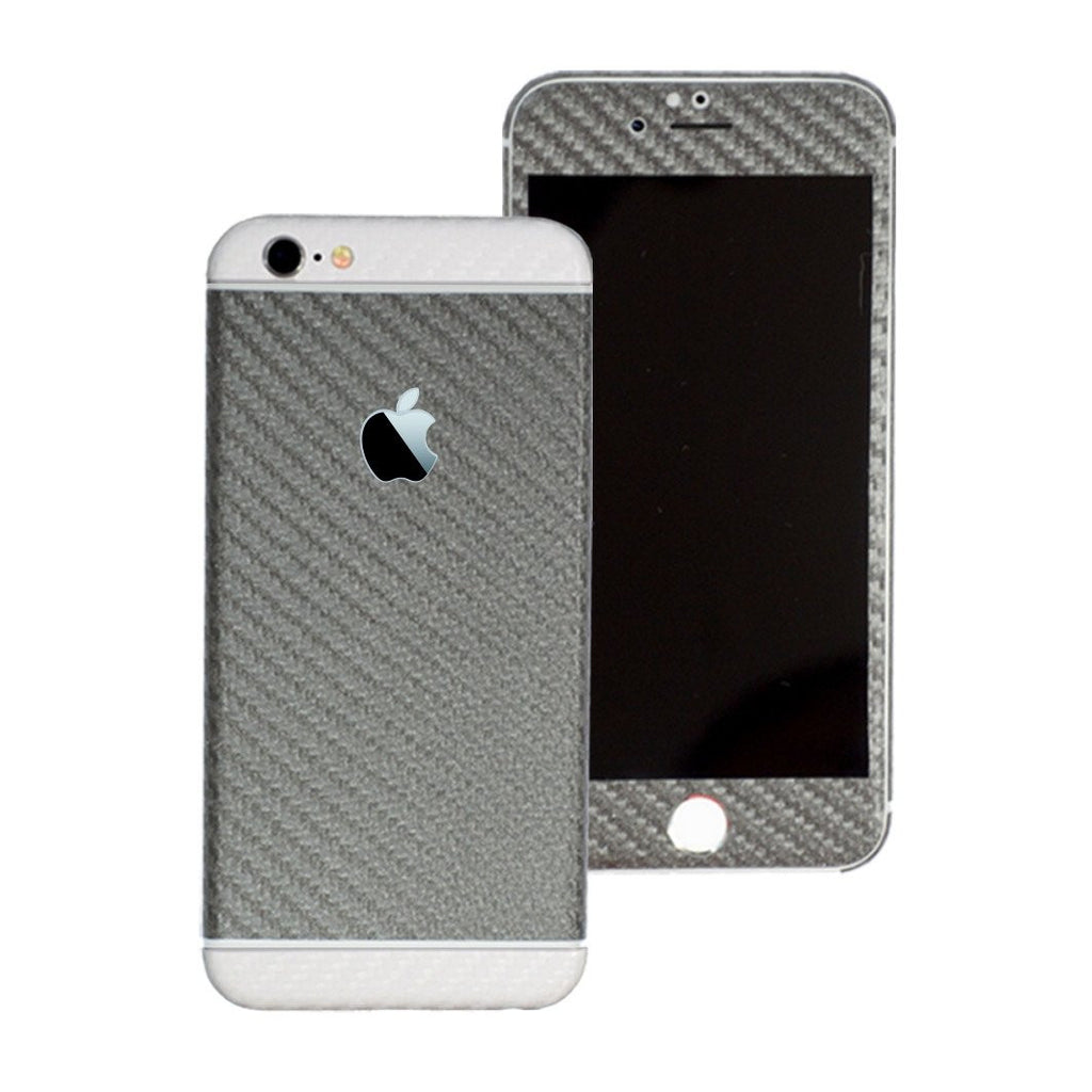 iPhone 6S Two Tone METALLIC GREY & WHITE CARBON Fibre Skin Sticker Wrap Cover Decal Protector by EasySkinz