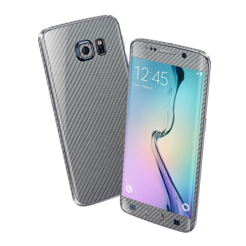 Samsung Galaxy S6 EDGE Metallic Grey 3D CARBON Fibre Fiber Skin Wrap Sticker Cover Decal Protector by EasySkinz