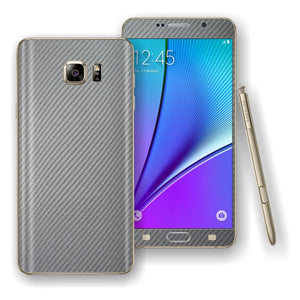 Samsung Galaxy NOTE 5 Metallic Grey 3D Textured CARBON Fibre Skin Wrap Decal Cover Protector by EasySkinz