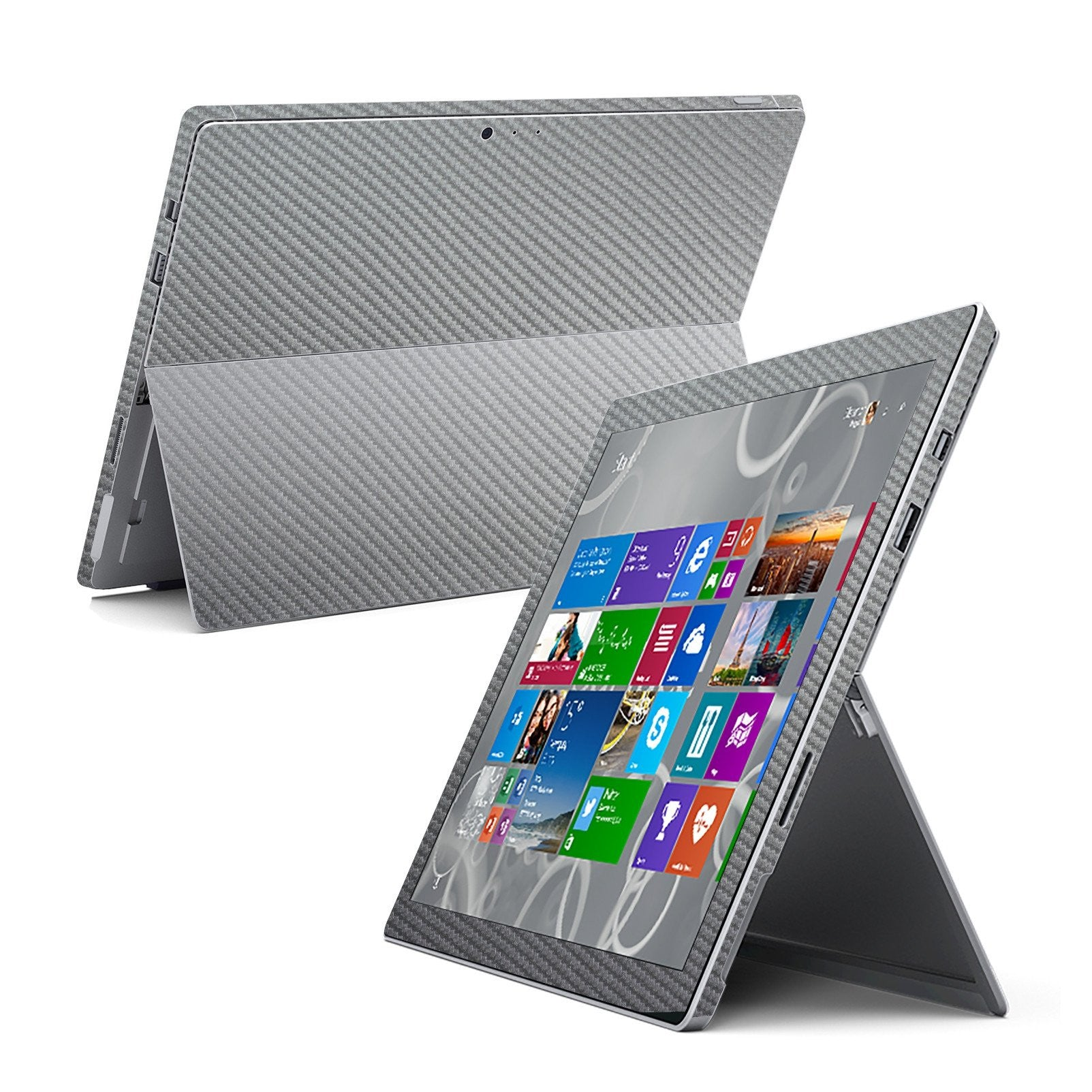 Microsoft Surface Pro 3 Metallic Grey CARBON Fibre Skin Wrap Sticker Cover Decal Protector by EasySkinz