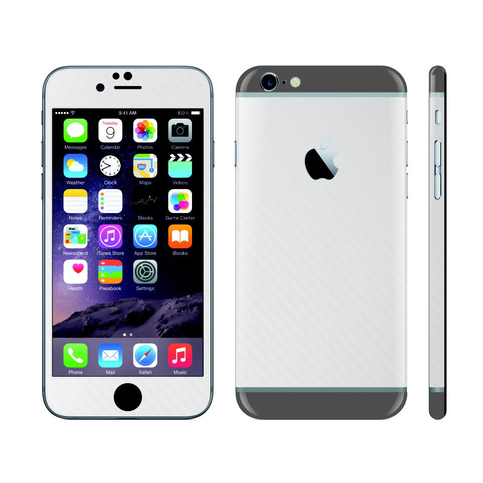 iPhone 6 Plus White Carbon Fibre Skin with Space Grey Matt Highlights Cover Decal Wrap Protector Sticker by EasySkinz