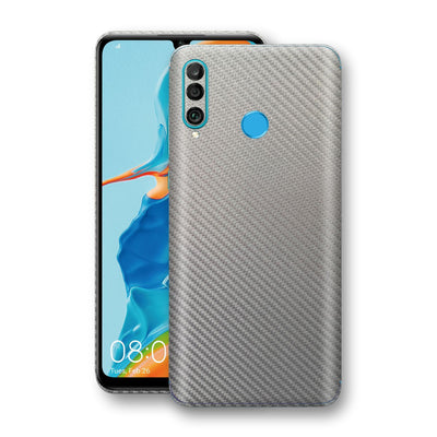 Huawei P30 LITE 3D Textured Metallic Grey Carbon Fibre Fiber Skin, Decal, Wrap, Protector, Cover by EasySkinz | EasySkinz.com