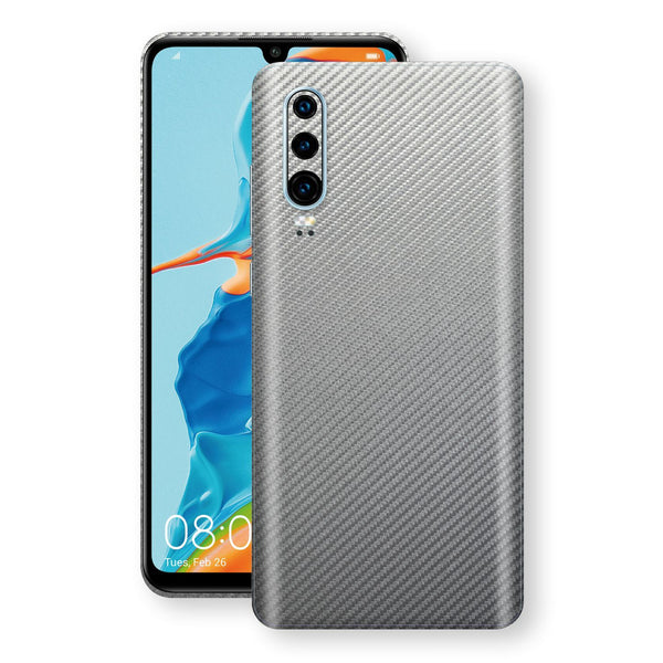 Huawei P30 3D Textured Metallic Grey Carbon Fibre Fiber Skin, Decal, Wrap, Protector, Cover by EasySkinz | EasySkinz.com