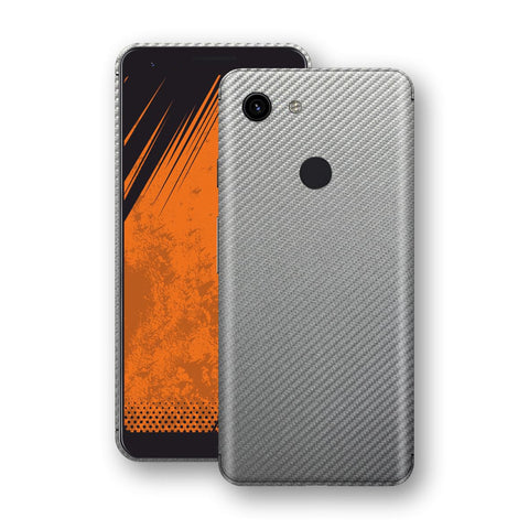 Google Pixel 3a 3D Textured Metallic Grey Carbon Fibre Fiber Skin, Decal, Wrap, Protector, Cover by EasySkinz | EasySkinz.com