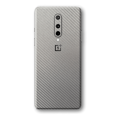 OnePlus 8 3D Textured Metallic Grey Carbon Fibre Fiber Skin Wrap Sticker Decal Cover Protector by EasySkinz